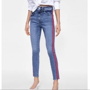 Zara red blue stripe side skinny jeans
